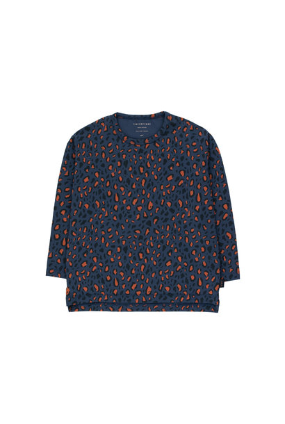 Animal Print tee - Light Navy / Dark Brown
