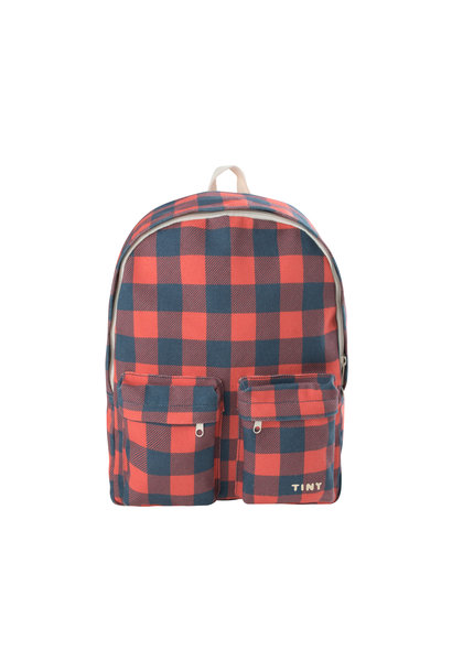 Check big Backpack / Navy Red