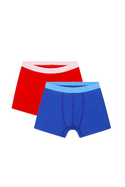 2-pack jongens boxershorts - Rood / Blauw