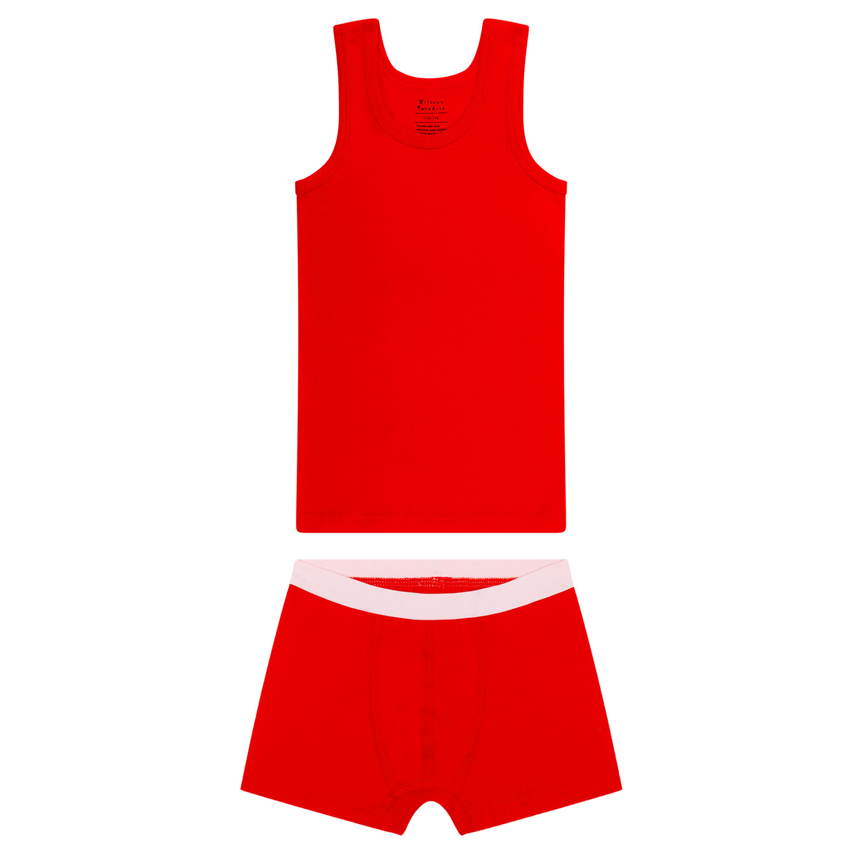 Jongens hemd + boxershort - Rood-1
