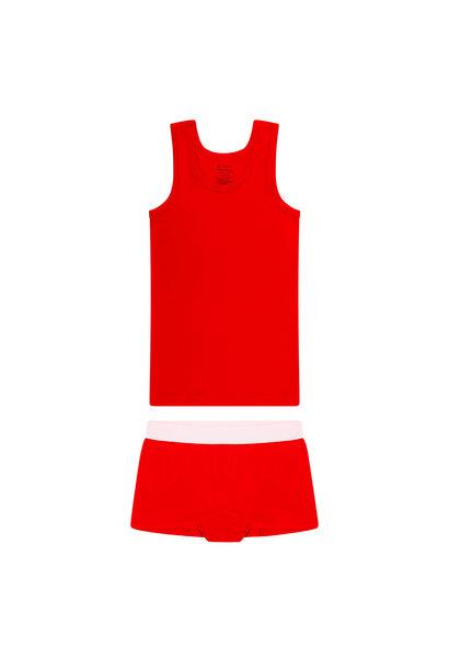 Meisjes hemd + hipster - Rood