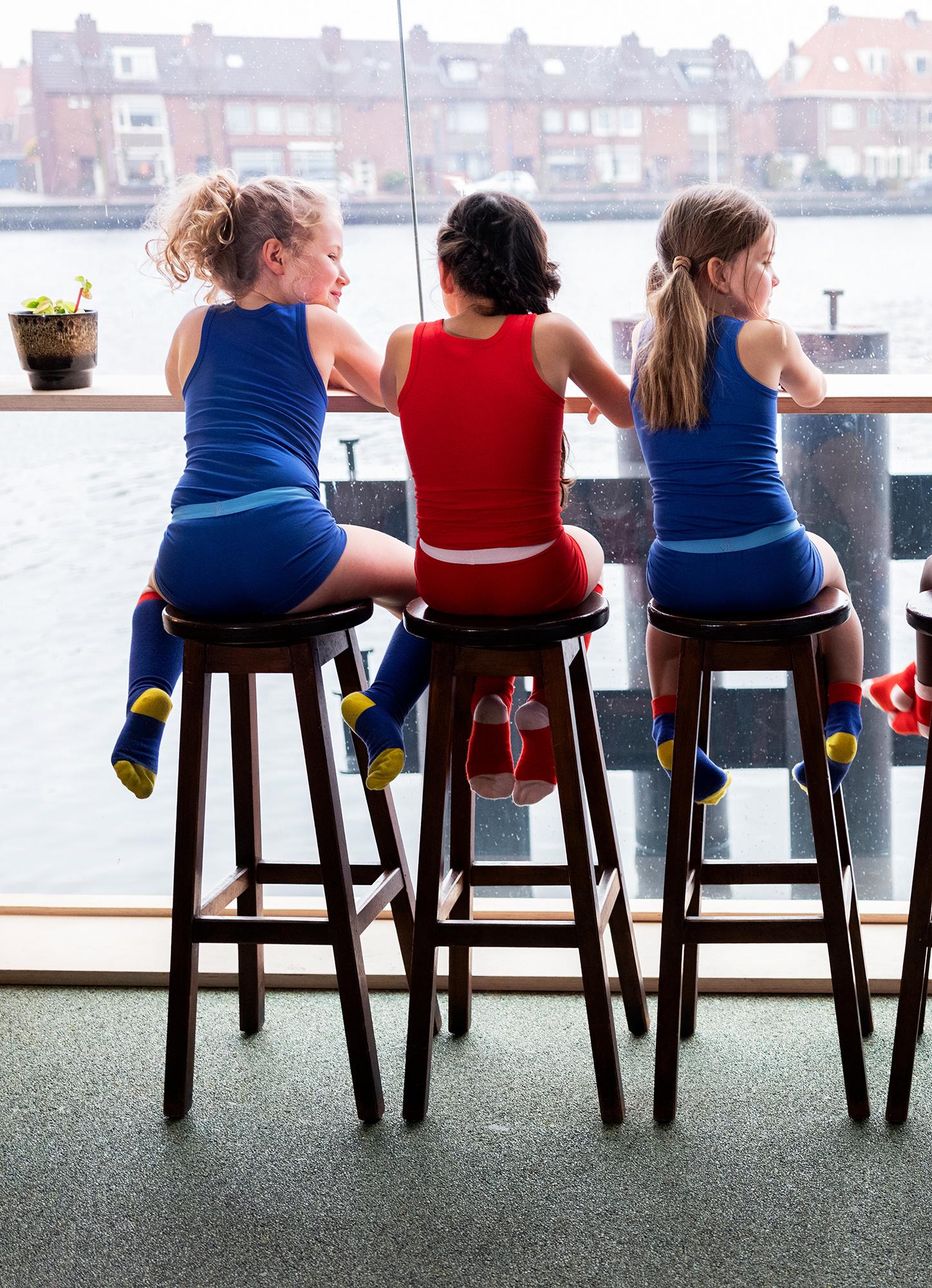 Meisjes hemd + hipster - Blauw-2