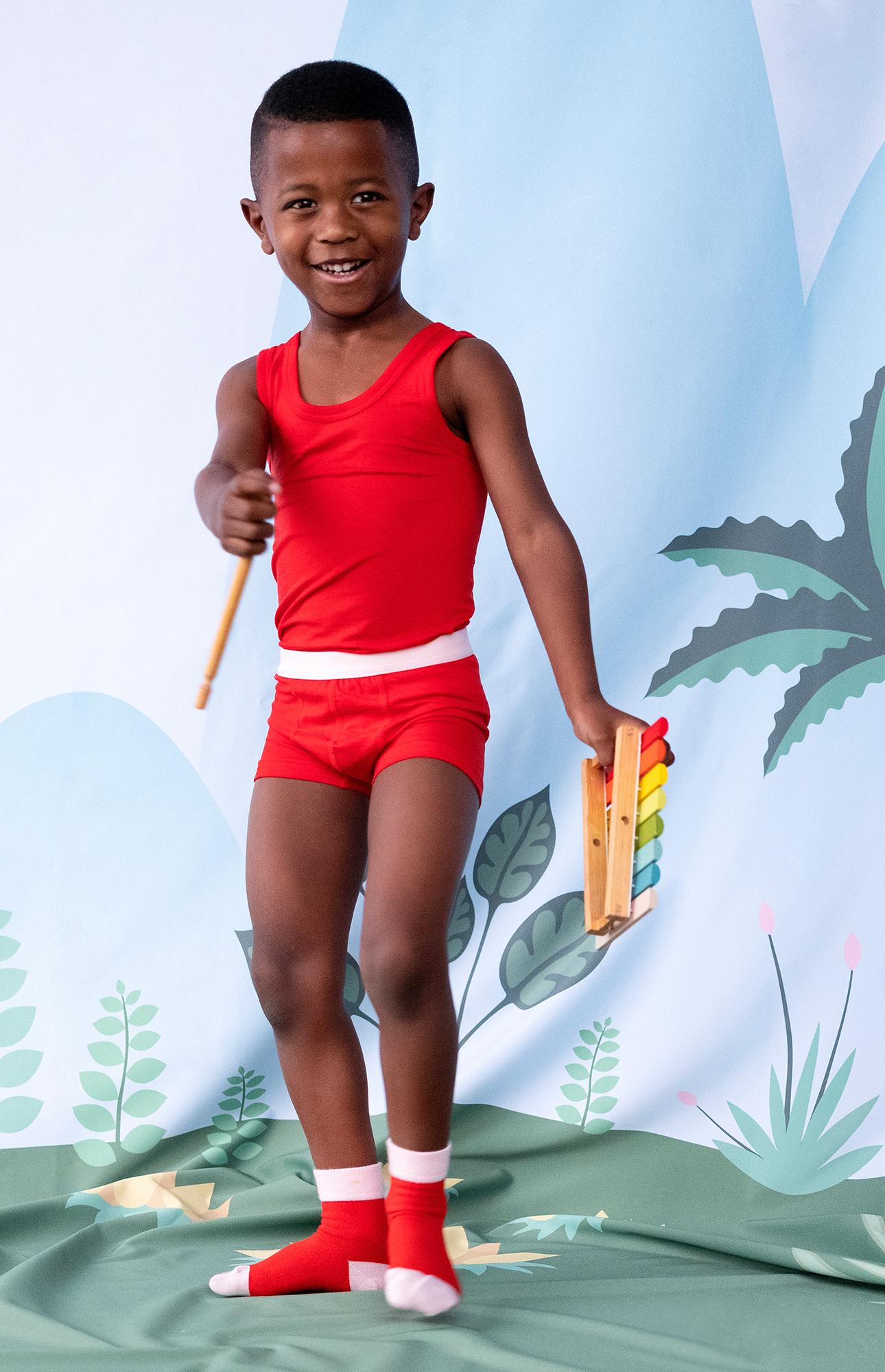 Jongens hemd + boxershort - Rood-2
