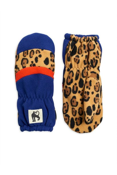 Fleece mittens stripe - Blue