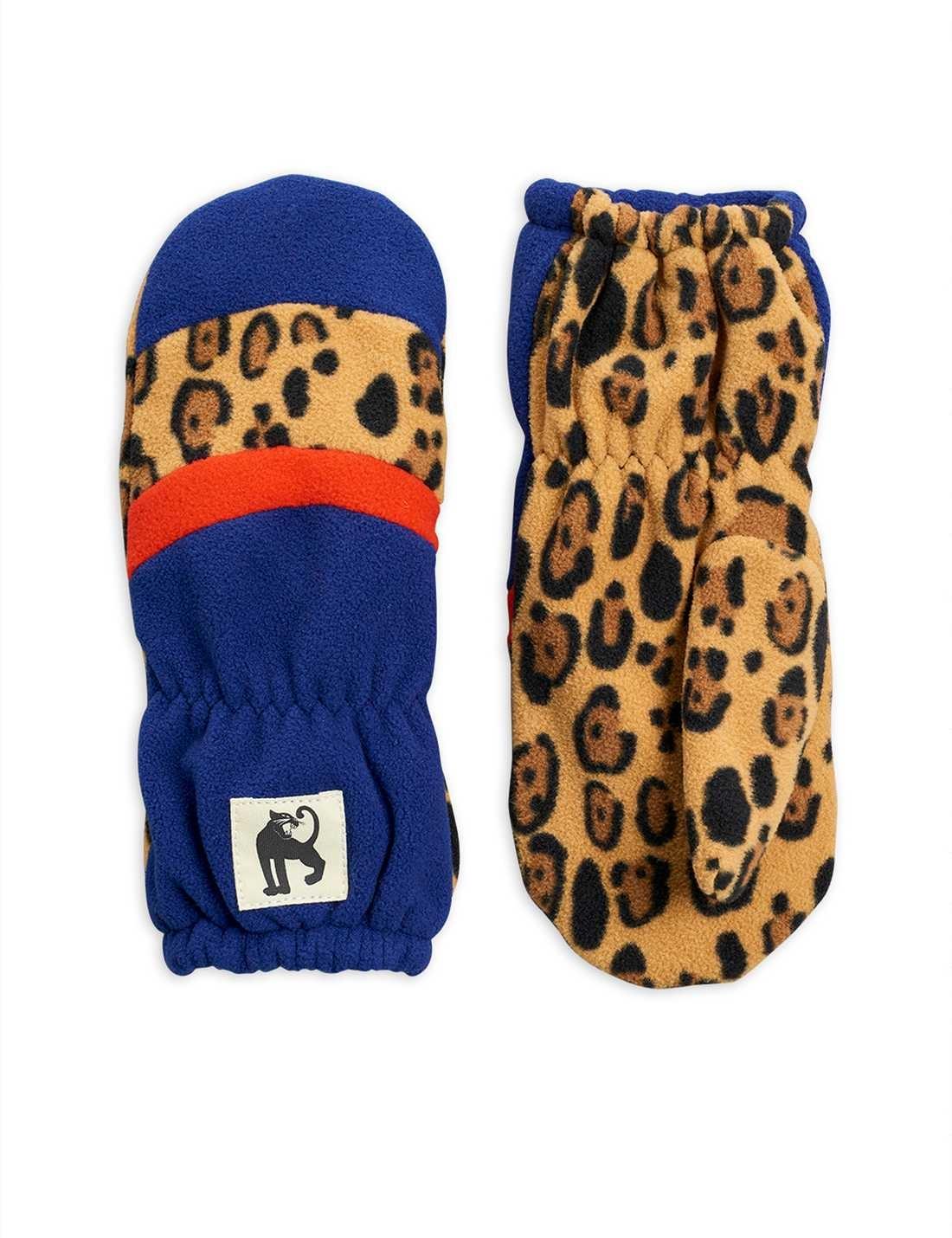 Fleece mittens / glove stripe - Blue-1