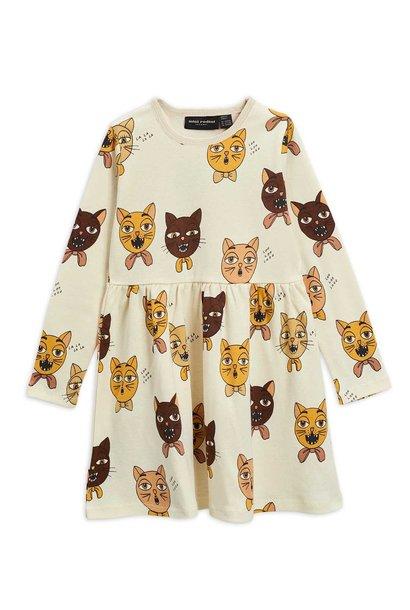 Cat choir AOP l/sl dress - Offwhite