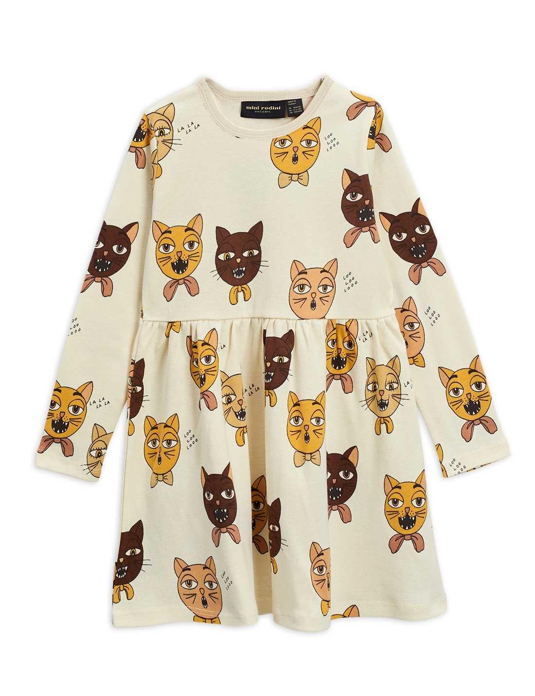 Cat choir AOP l/sl dress - Offwhite-1