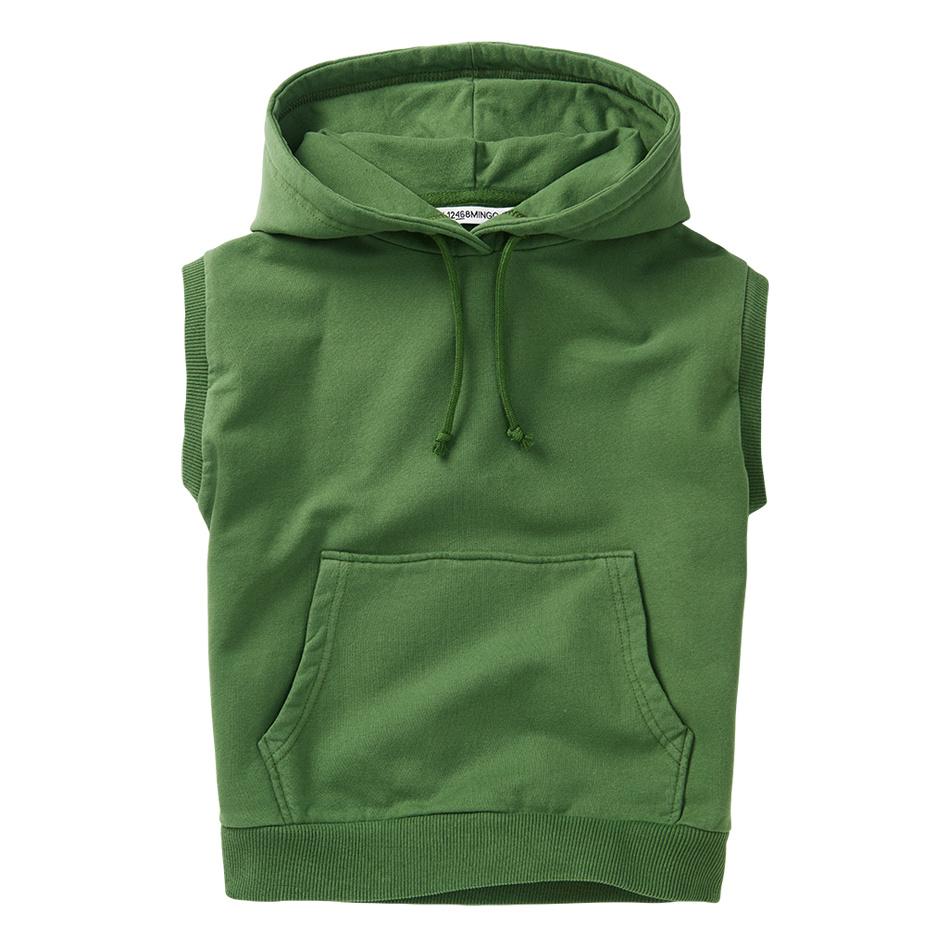 Sleeveless hoodie - Moss Green-1
