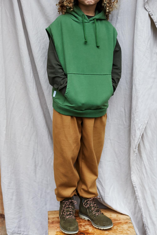 Sleeveless hoodie - Moss Green-2