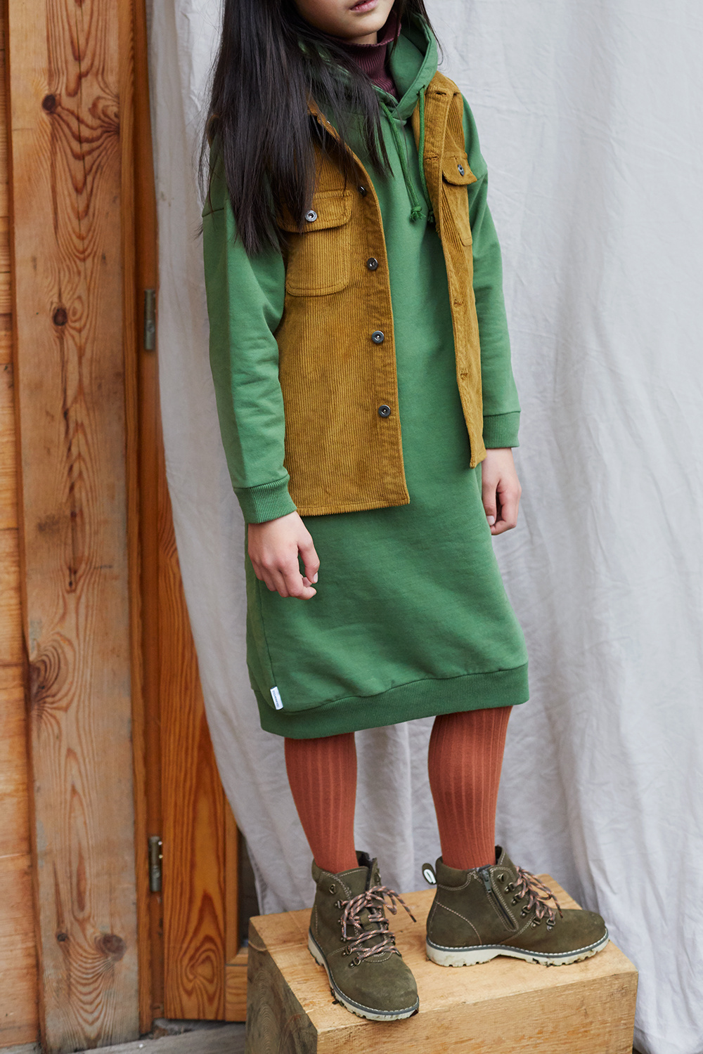 Sweater dress hoodie - Moss Green-2