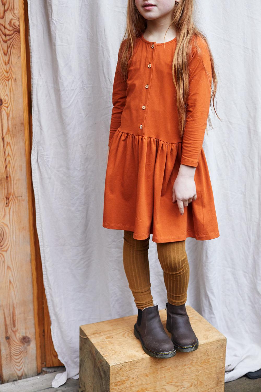 Button dress - Dark Ginger-2