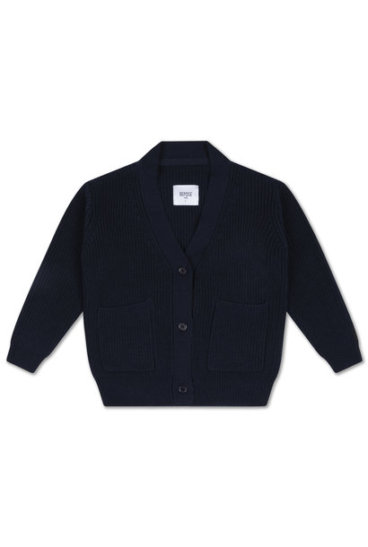 Knit grandpa cardigan - Navy Blue