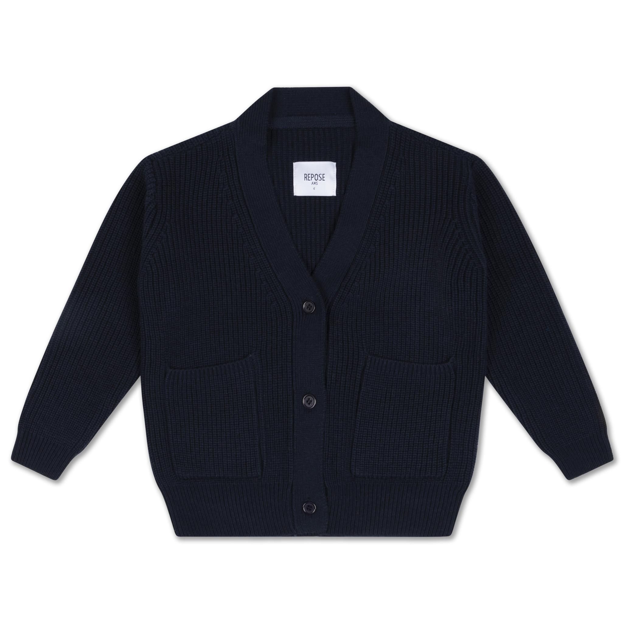 Knit grandpa cardigan - Navy Blue-1