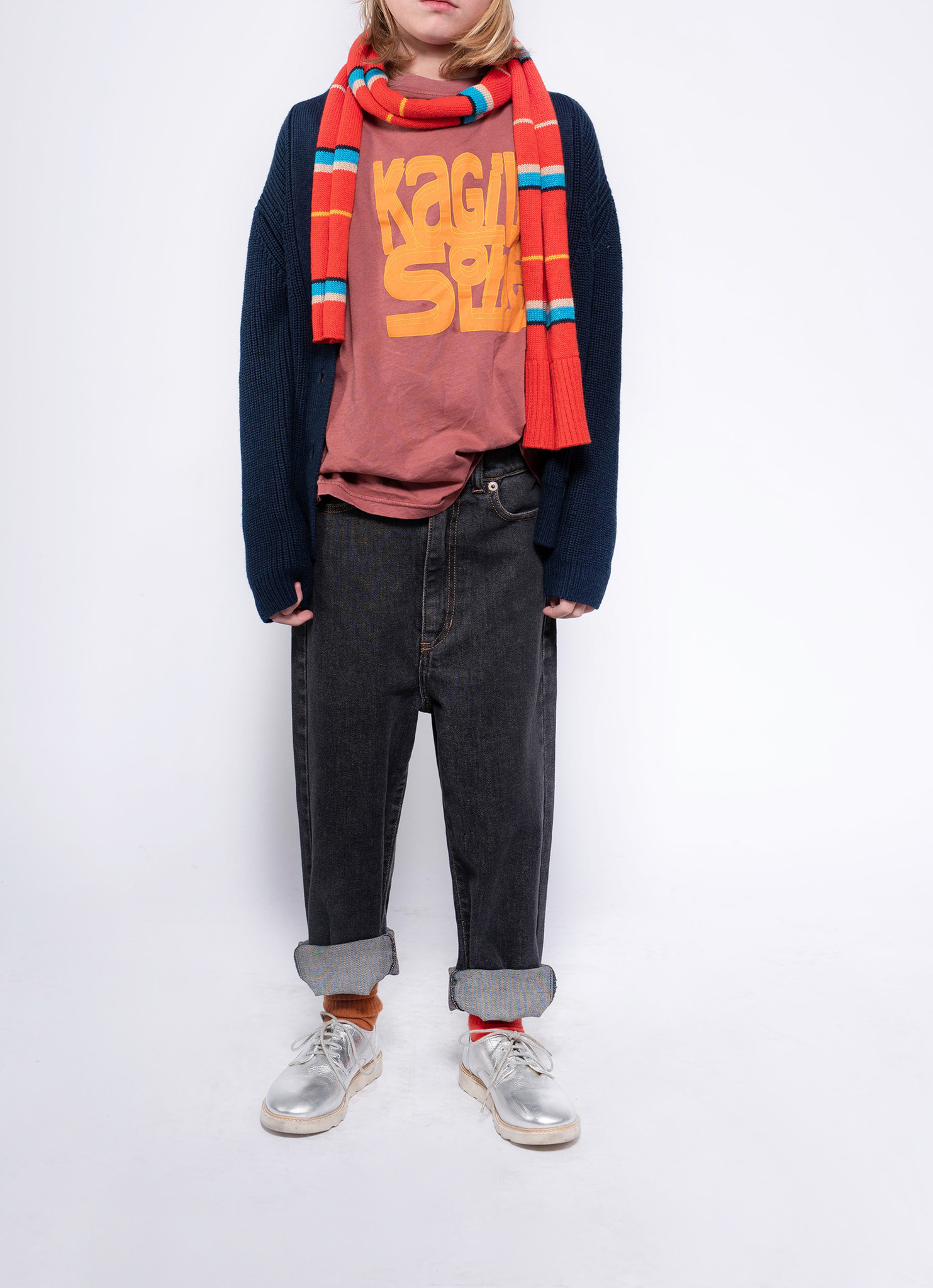 Knit grandpa cardigan - Navy Blue-2
