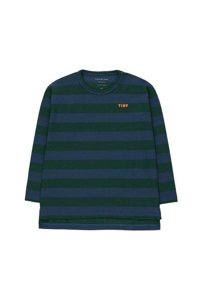Tiny stripes tee - Dark Green/ Light Navy