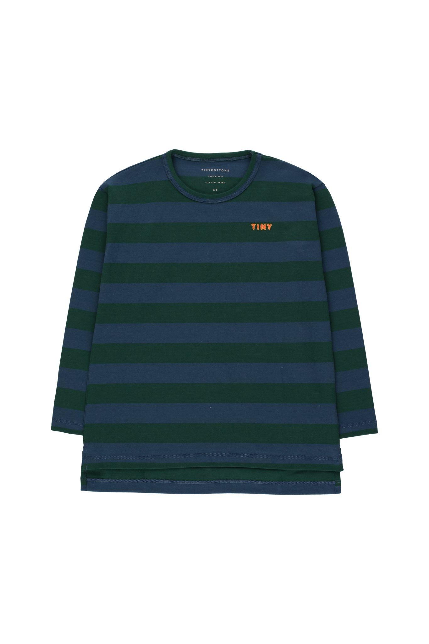 Tiny stripes tee - Dark Green/ Light Navy-1