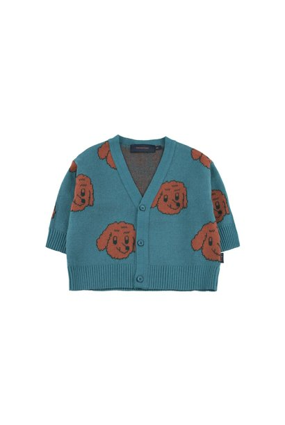 Dog cardigan - Sea Blue / Dark Brown
