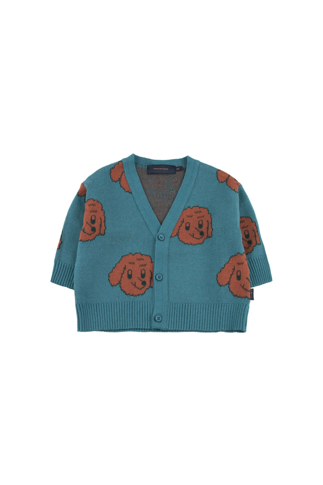 Dog cardigan - Sea Blue / Dark Brown-1