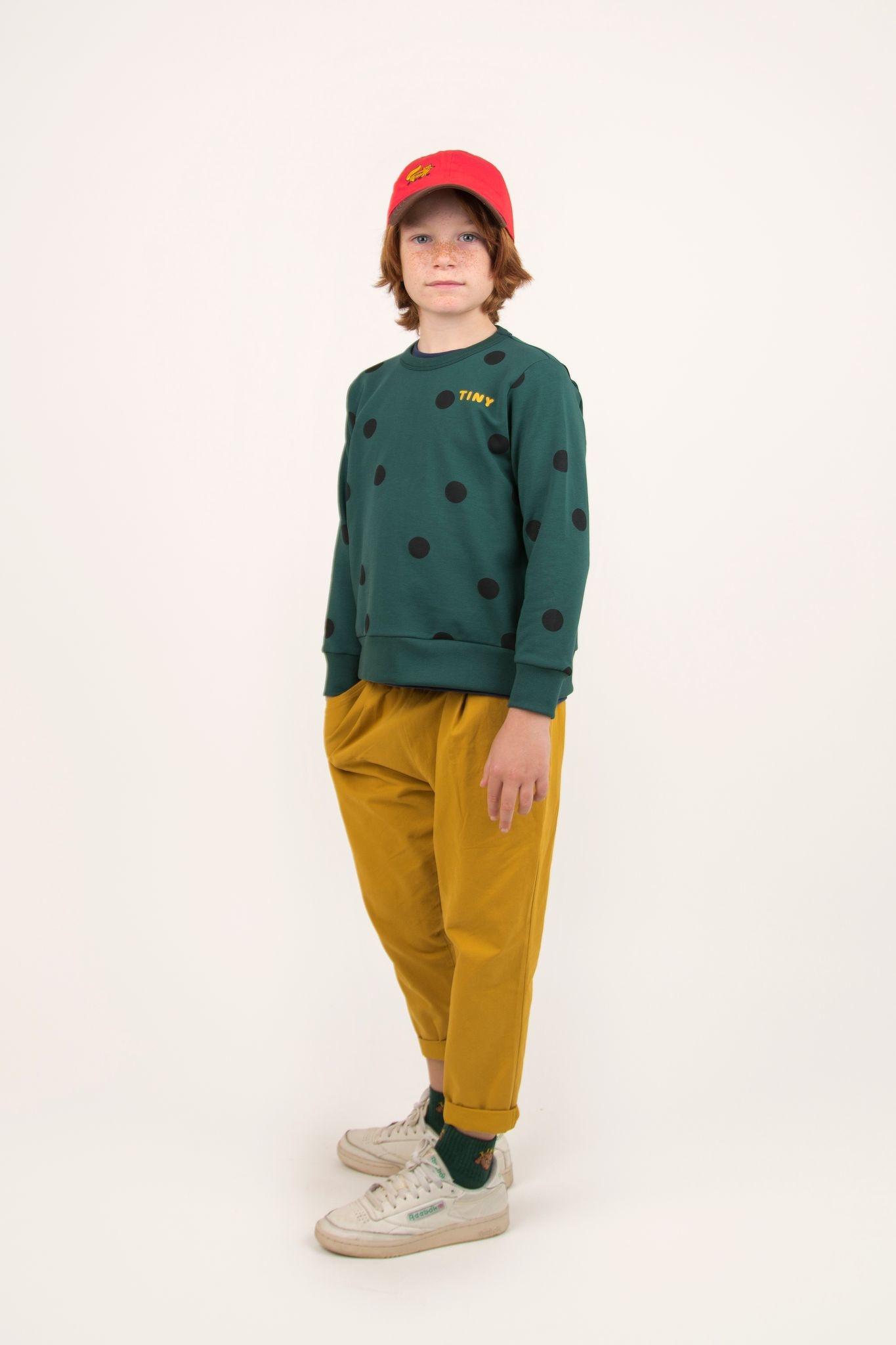 Big dots sweatshirt - Dark Green / Black-3