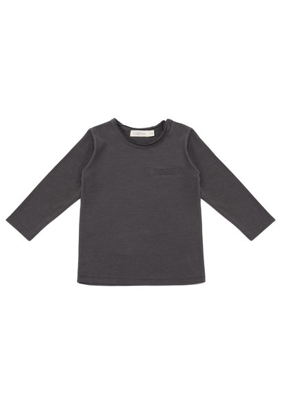 Pocket tee l/s kid - Graphite