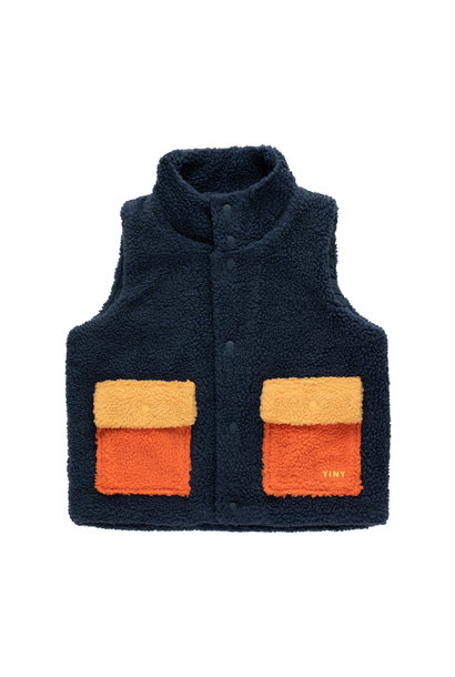 Tiny colorblock Sherpa vest - Navy