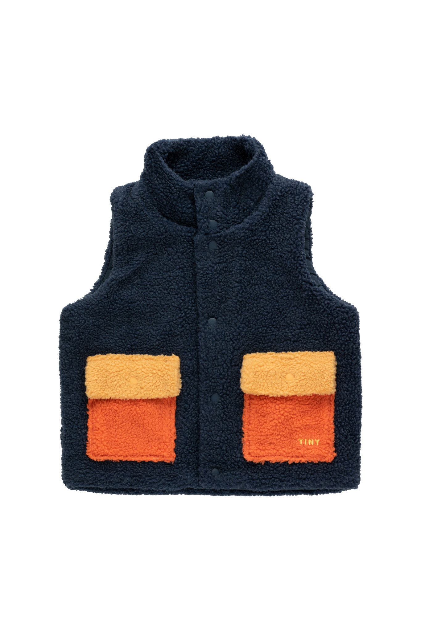 Tiny colorblock Sherpa vest - Navy-1