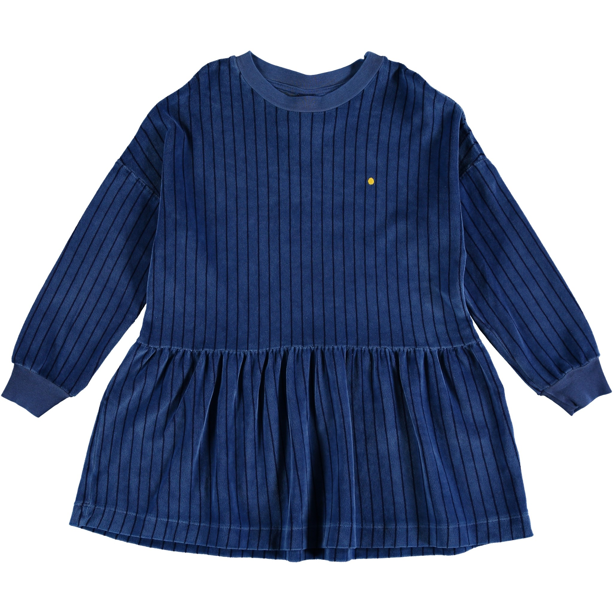 Dress Velvet all over stripes - Sea Blue-1