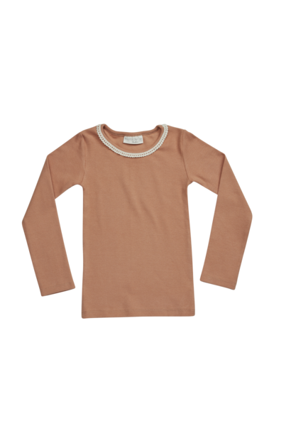 T-shirt baby longsleeve lace - Deep Toffee