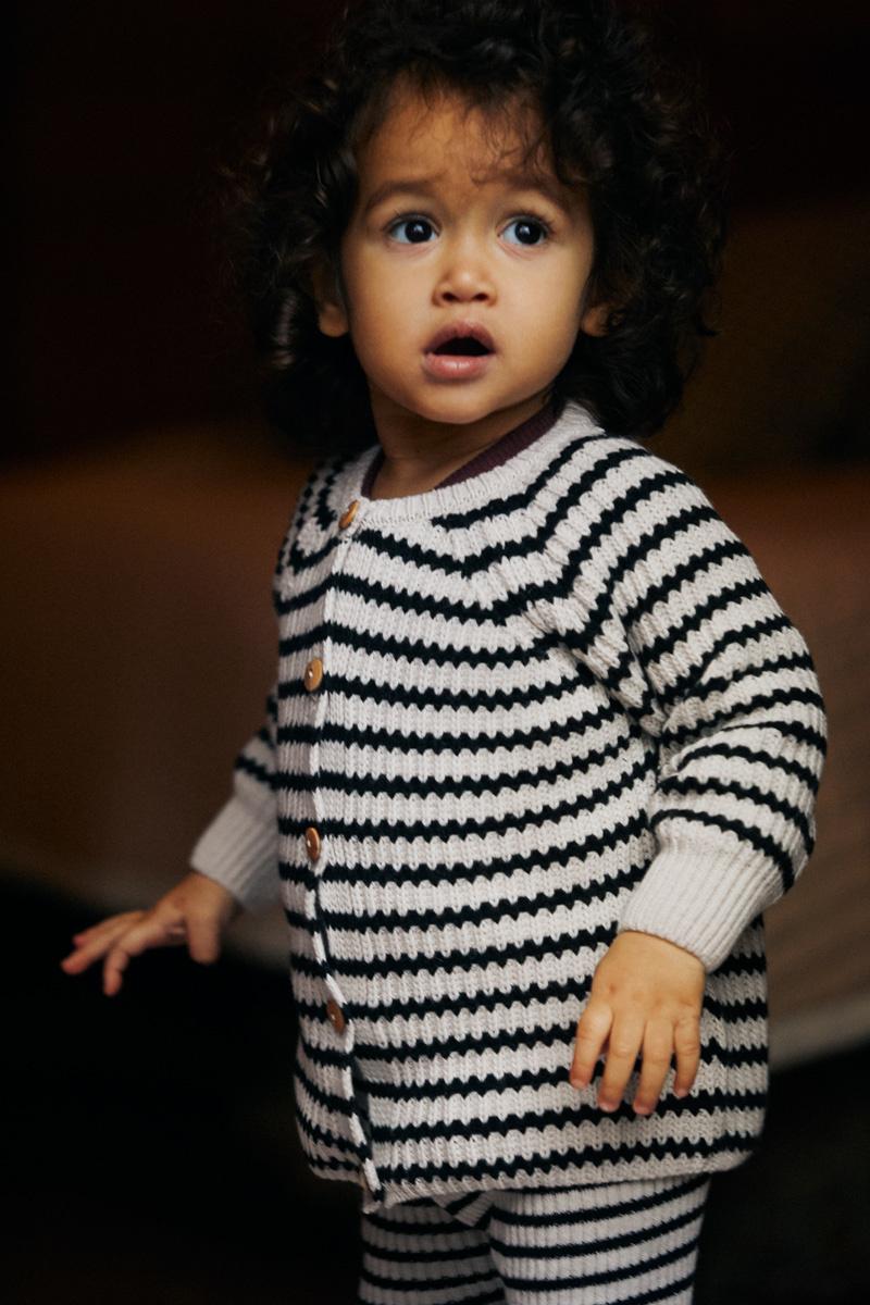 Baby cardigan - Stripes Black / White-2