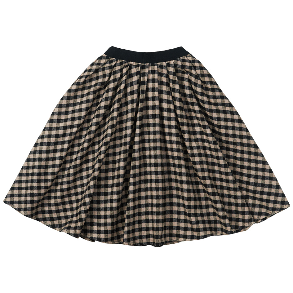 Midi skirt - check Caramel / Black-3
