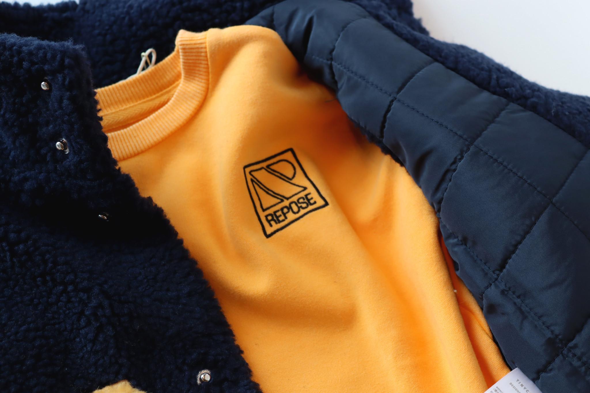 Tiny colorblock Sherpa vest - Navy-5