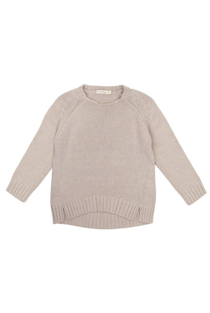 Cashmere blend knit sweater - Straw