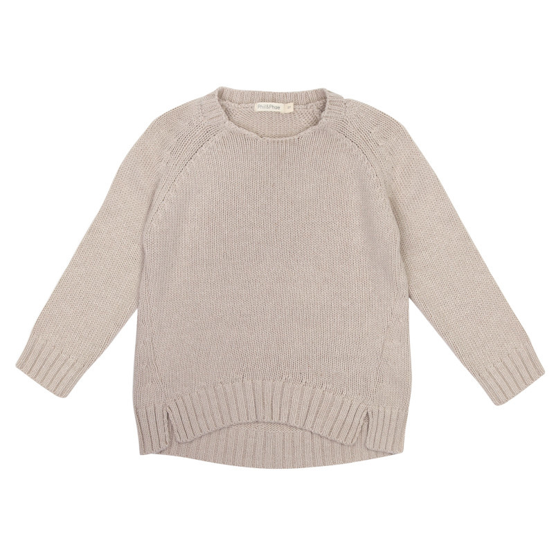 Cashmere blend knit sweater - Straw-1
