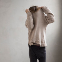 Cashmere blend knit sweater - Straw-2