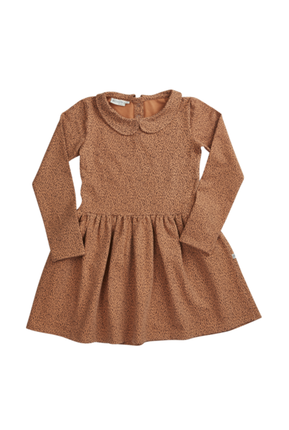 Peterpan dress - Leaf Drops Caramel Fudge