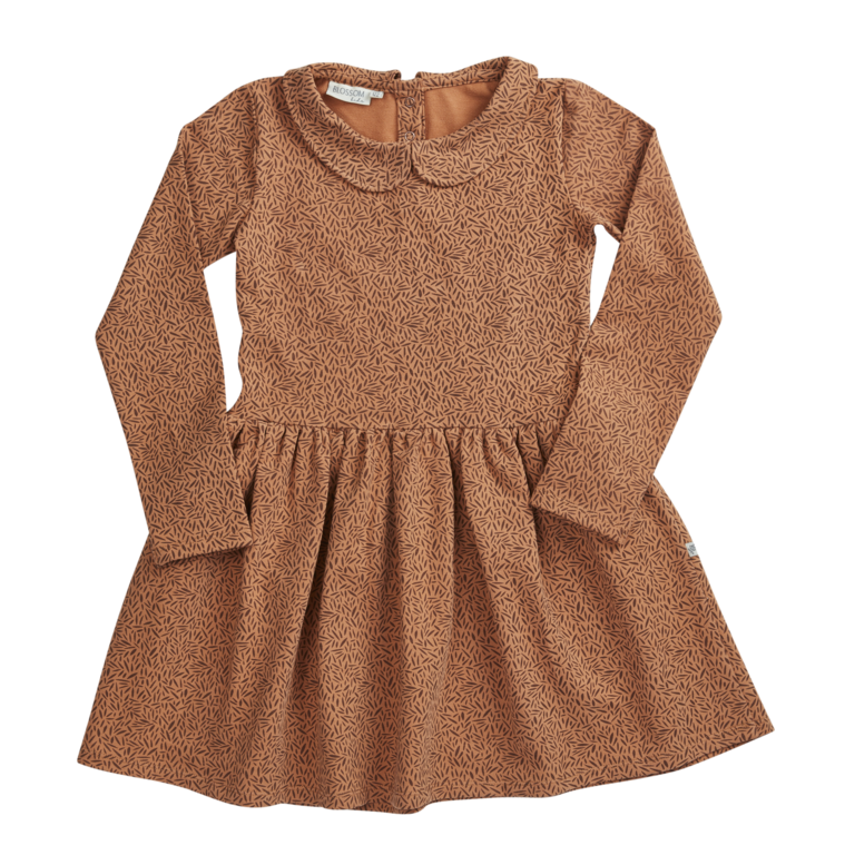 Peterpan dress - Leaf Drops Caramel Fudge-1
