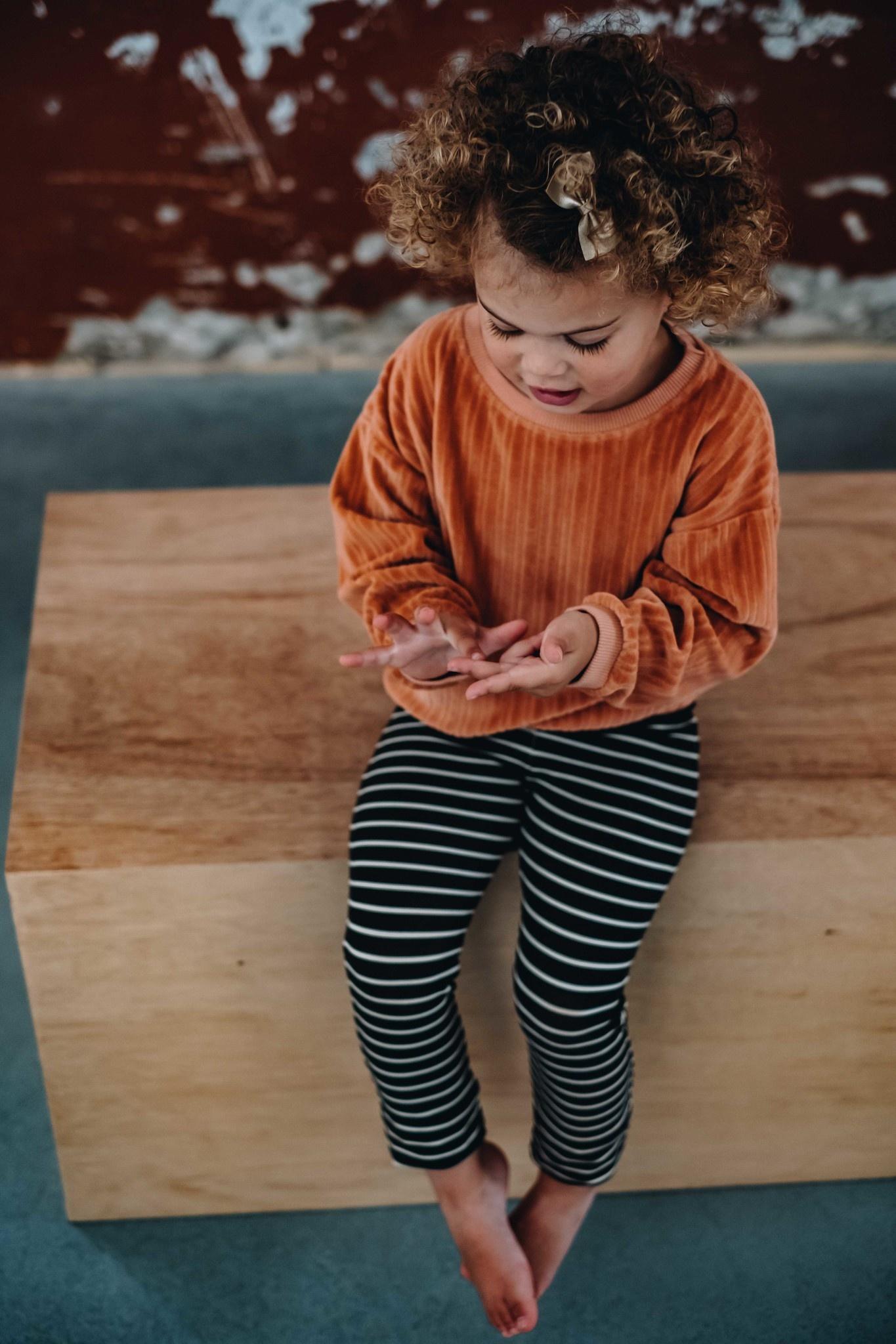 Legging kid - Petit Stripes Espresso Black-2