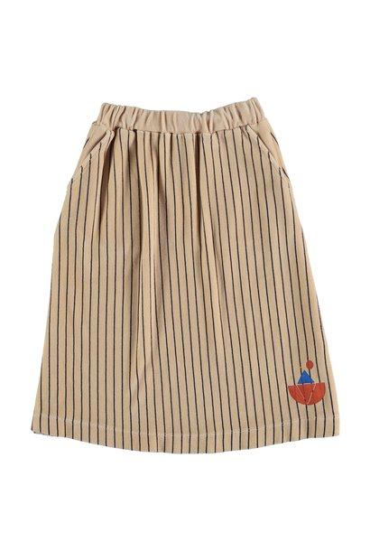 Skirt velvet all over stripe - Fog