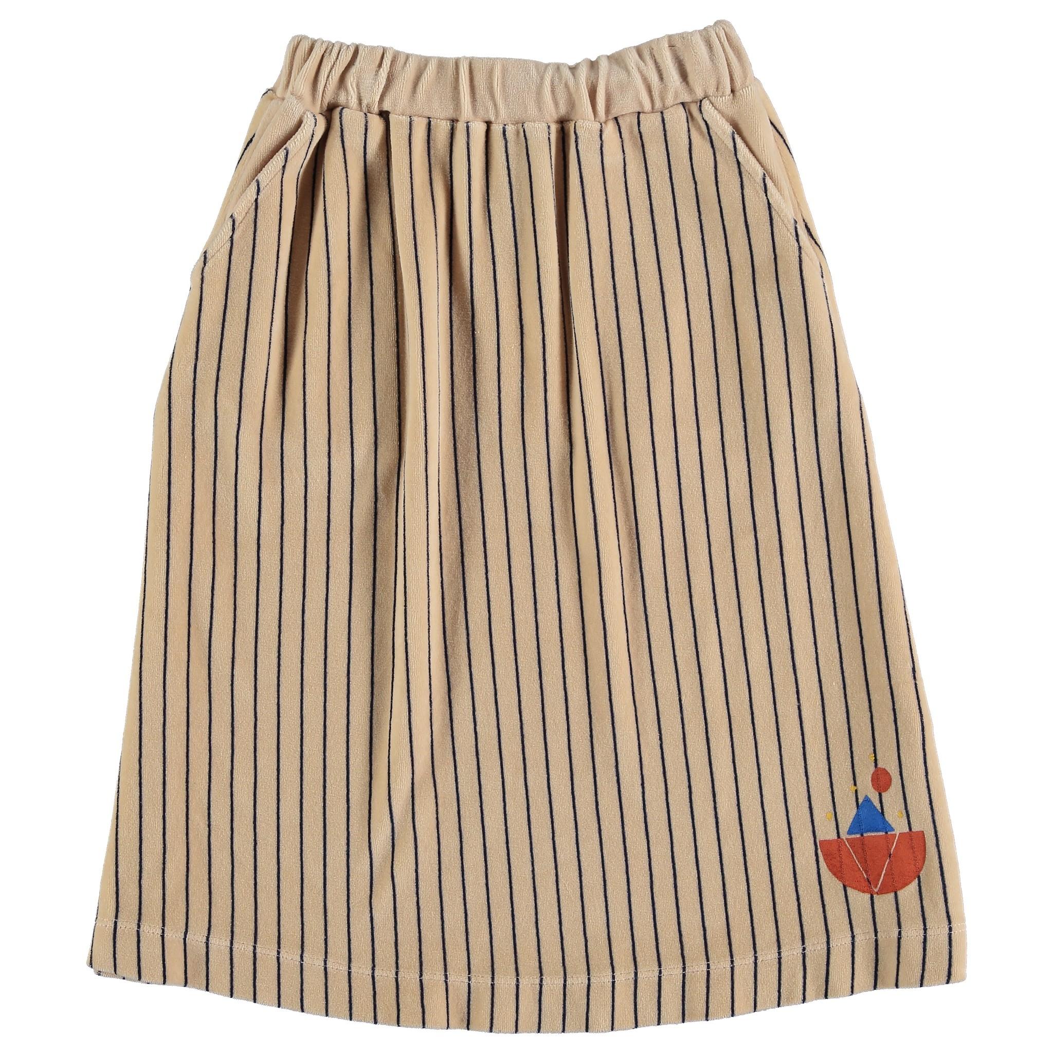 Skirt velvet all over stripe - Fog-1
