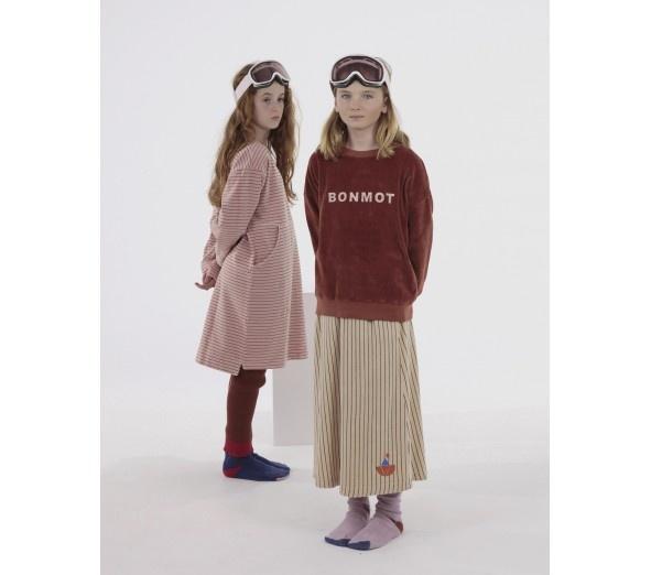 Skirt velvet all over stripe - Fog-2