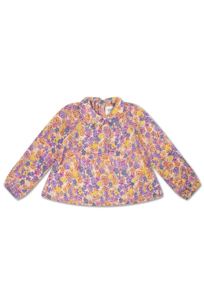 Round collar blouse - Scribble Flower