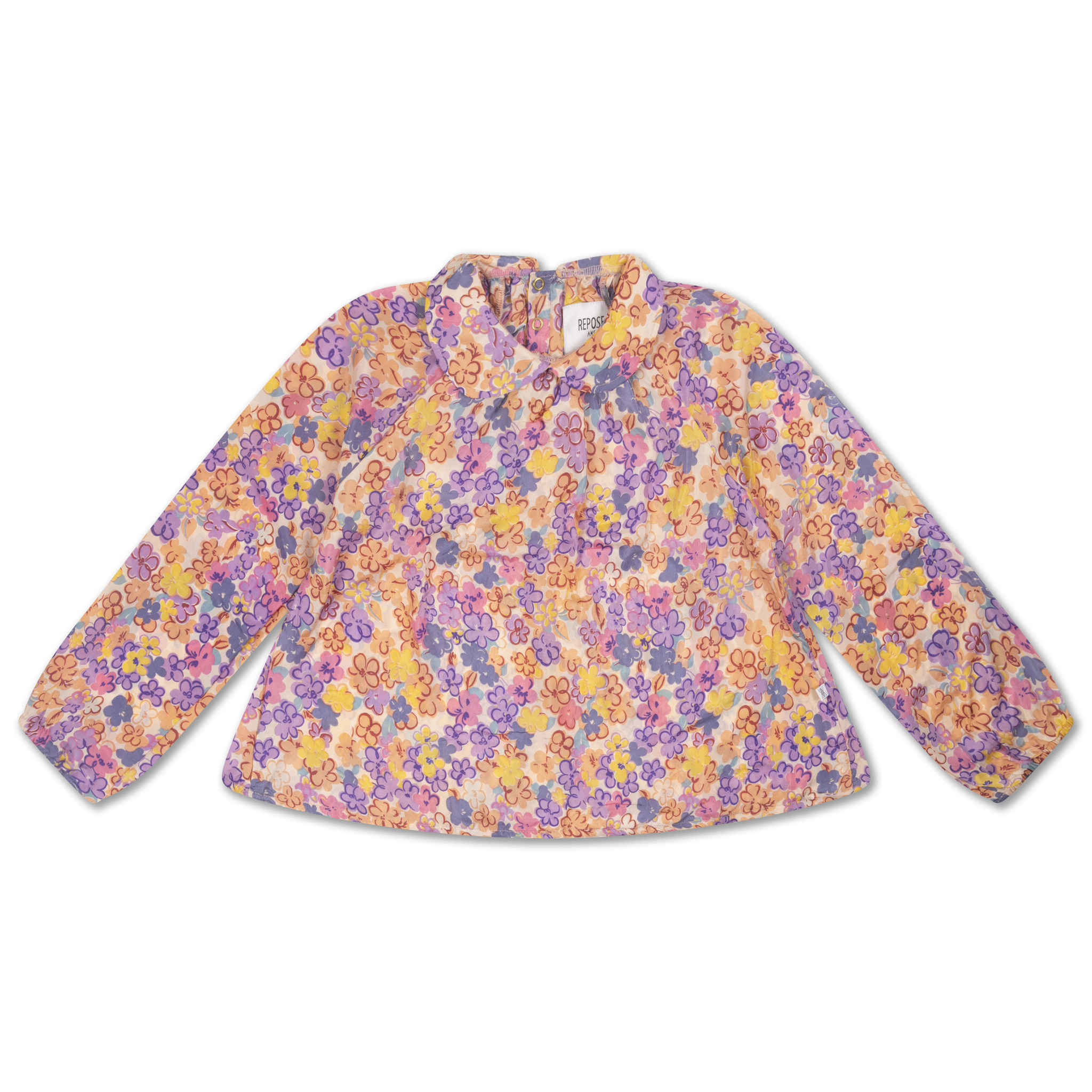 Round collar blouse - Scribble Flower-1