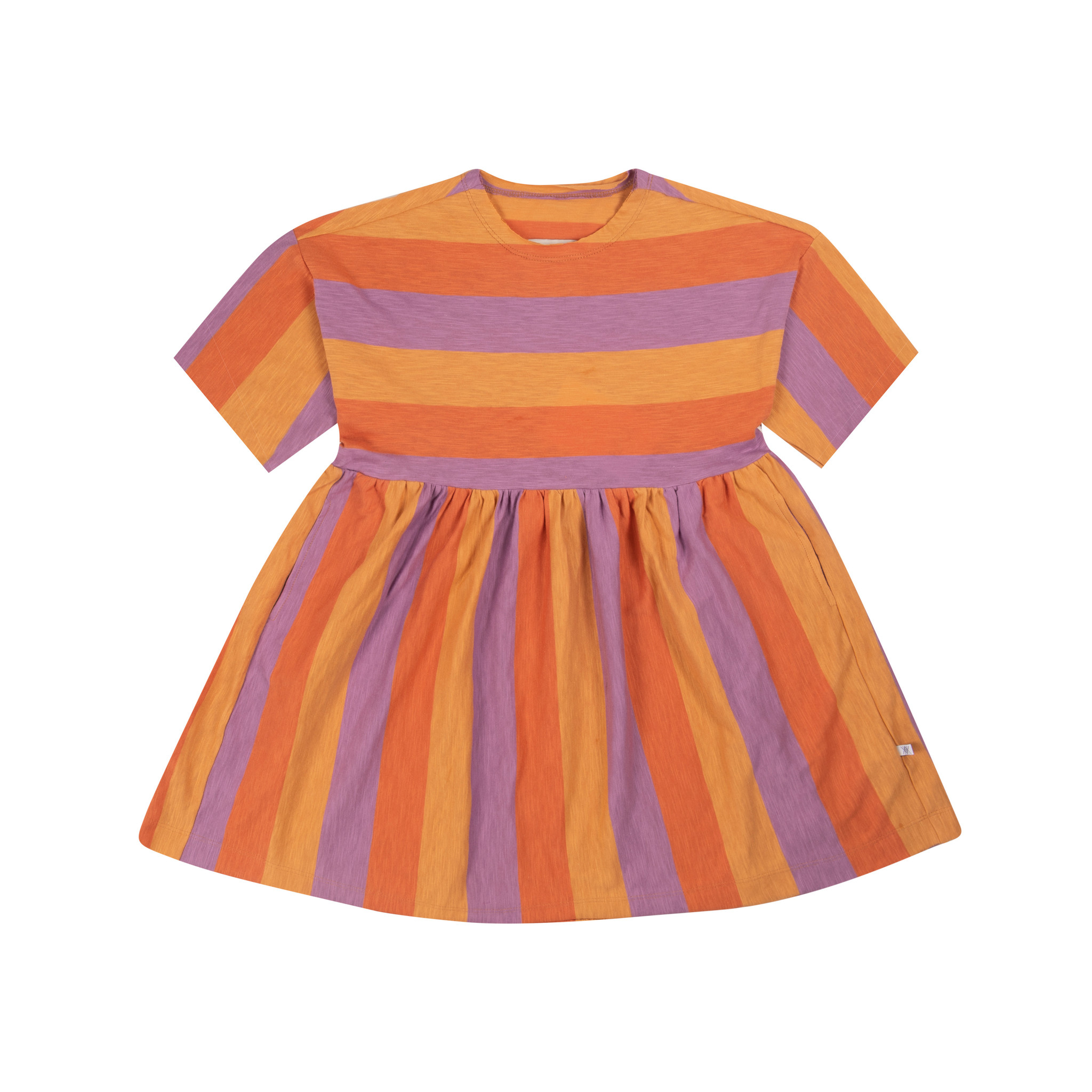 Simple dress - Peachy Lavender Block Stripe-1