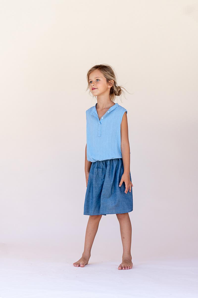 Sleeveless blouse - Shirt Blue-2