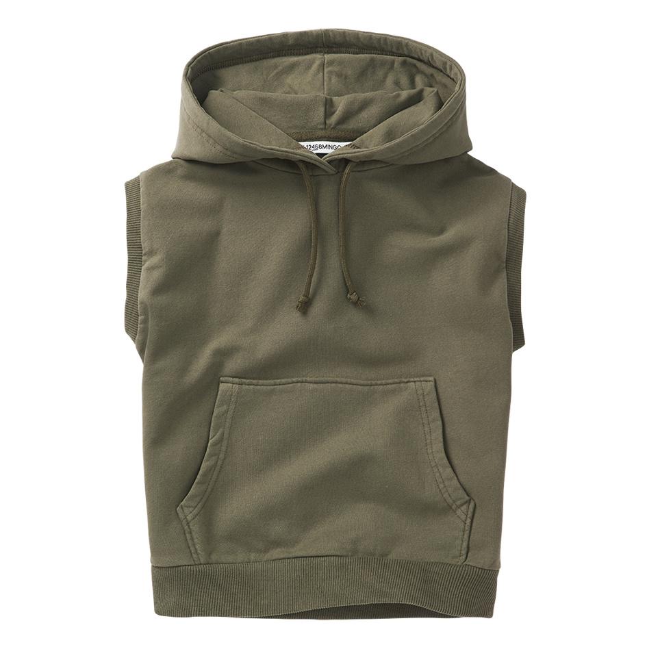 Sleeveless hoodie - Sage Green-1