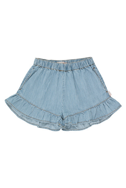 Striped denim frills short - Stripes Denim