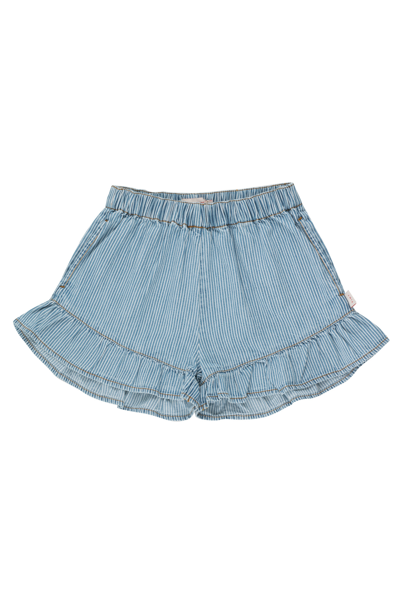 Striped denim frills short - Stripes Denim-1