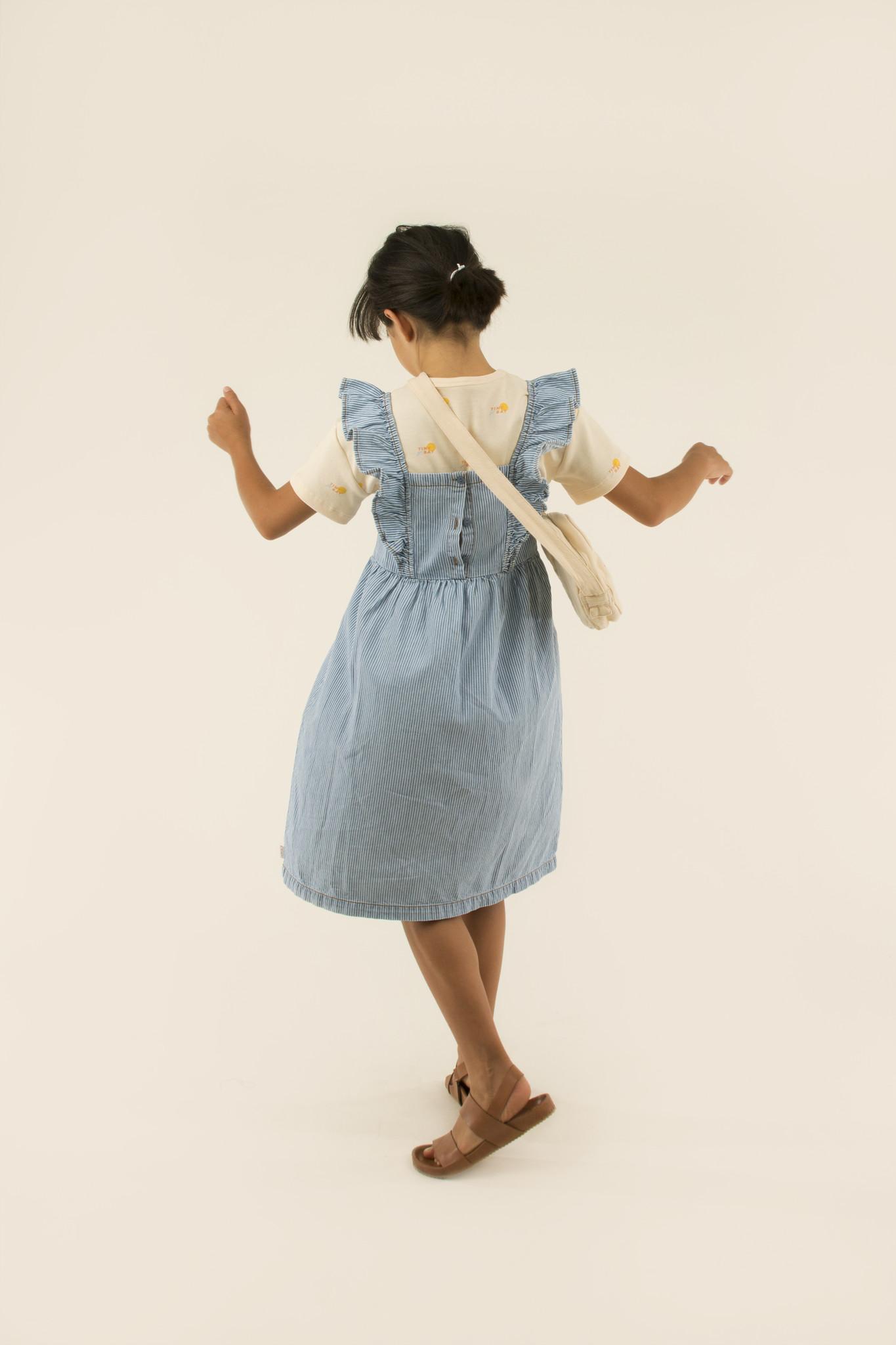 Striped denim frills dress - Stripes Denim-2