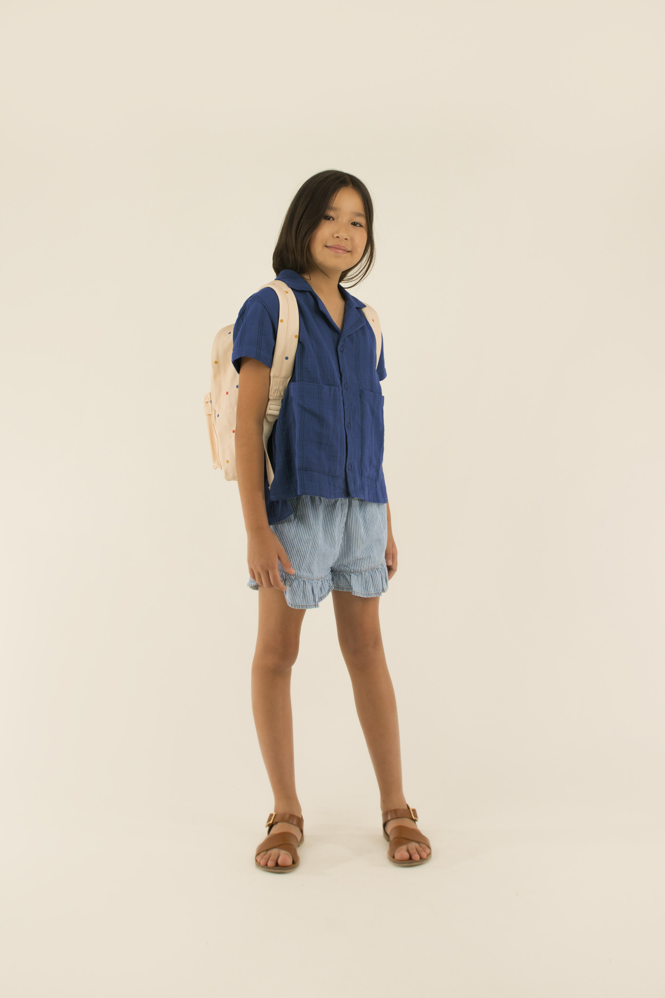 Striped denim frills short - Stripes Denim-2