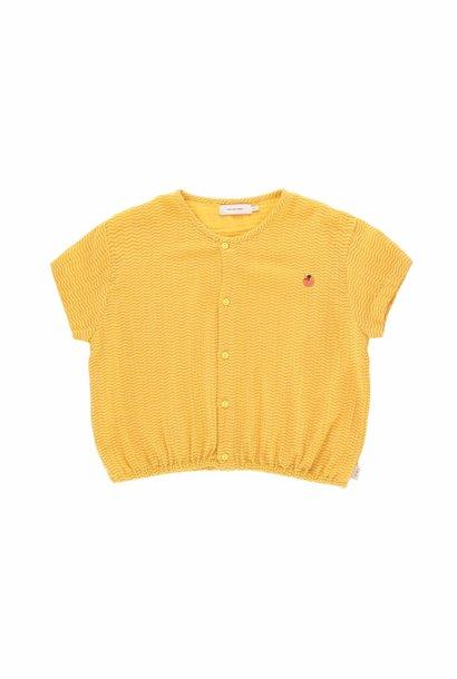 Waves crop shirt - Yellow /Iris Blue